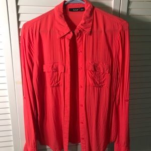 a.n.a bright pink/red button down